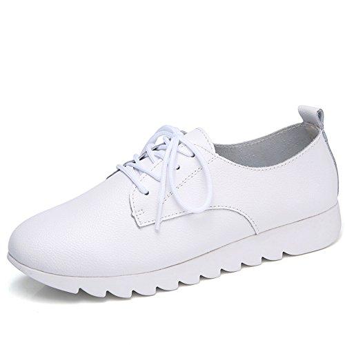 XIA&Sportschuhe Einzelne Schuhe Flache Beiläufige Britische Art-weiße Schwarze Rosa Bequeme Starke Unterseite Erhöhen Frau Weiß