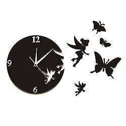 xushihanjjli Wall Clocks Birthday Gift Mute Movement Fairy Angel Flew Away Wall Clock Modern Art Flying Butterflies Decorative Living Room Office Hotel Bar Creative Art