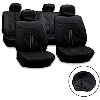 Aintier 10PCS Black//Gray Car Seat Covers Four Seasons All-purpose Waterproof Dust-proof Fit for Most Five-seater Cars Automobile Interior Accessories