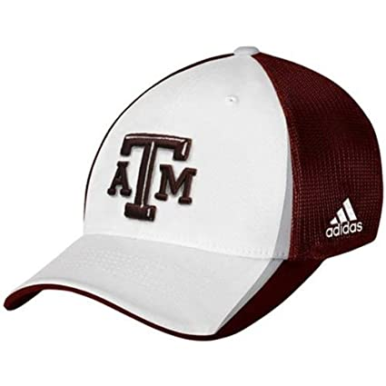 84e0c6ddfb1 Image Unavailable. Image not available for. Color  adidas Texas A M Aggies  Team Flex Mesh Cap White Maroon