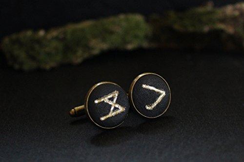 Enamel Elegant Cufflinks - Black cufflinks with golden Norse rune Celtic Scandinavian Viking symbol Elegant men's jewelry Elder Futhark Present for Husband Boyfriend Father's day Son Brother Boss Groom