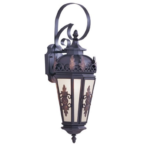 Livex Lighting 2192-07 Outdoor Wall Lantern with Antique Honey Linen Glass Shades, Bronze
