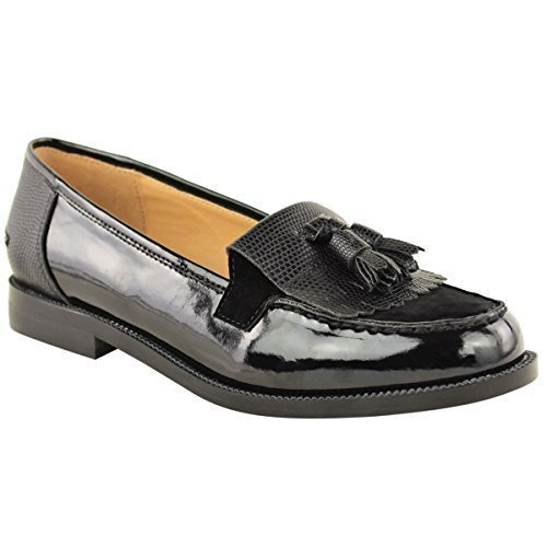 Mujer Zapatos Plano Casual Oficina Escuela Borla Zapato Oxford Negro Lagarto
