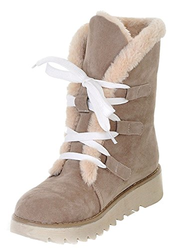 Mujer Botas Calentar E Minetom Botines Invierno Zapatos Plano Nieve Pelaje Otoño Atada De Beige Swn8Aqd