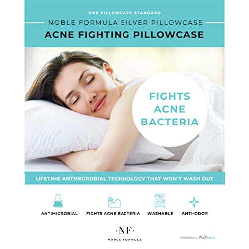 Noble Kleen Silver Acne Fighting Antimicrobial Pillowcase with PurThread Silver Technology, White, 1 Standard Pillowcase