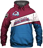 Men's Hooded 3D Digital Print K Series Colorado Avalanche Color Patchwork Pullover Hoodies Sweatersh
