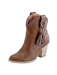 Women's Faux Suede Chunky Heel Tassel Cowboy Ankle Boot