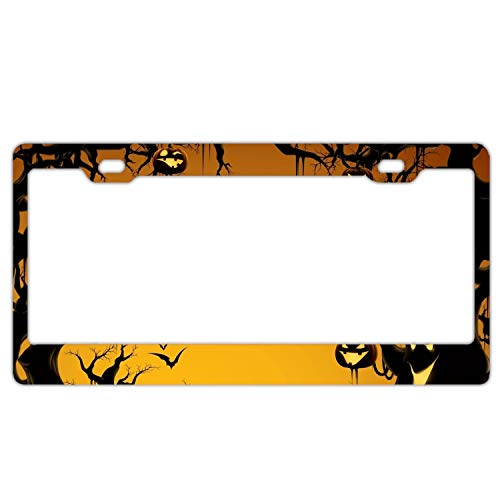 poopmick License Plate Covers Halloween Background Aluminum Metal License Plate Frame Tag Border