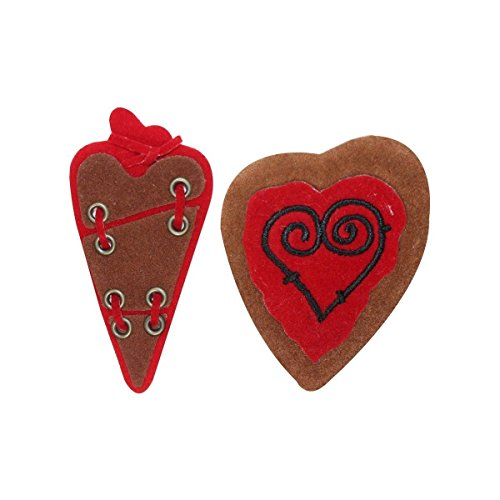 ID 3271AB Set of 2 Soft Heart Patches Valentines Day Love Felt Sew On Applique by Mia_you