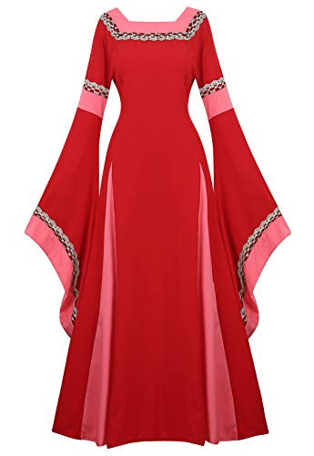 Womens Irish Medieval Dress Renaissance Costume Retro Gown Cosplay Costumes Fancy Long Dress Red-2XL