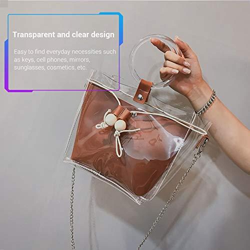 Sac Épaule Corde Sac Gris Mode Marron à Mallalah Sac Fille Mère pour Messenger de Main Transparent Cabas de Pompage Femmes rB4Pqwr