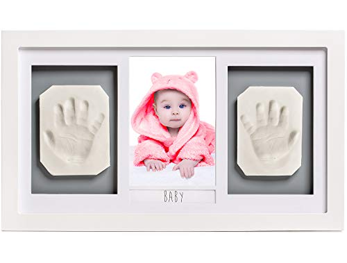 Lovely Baby Handprint or Footprint Picture Frame Kit -The Perfect Shower Gift for Boys and Girls, and A Forever Registry Memory, All in A Premium LARGE Wood Frame for Keepsake Decoration, Wall or Desk ()