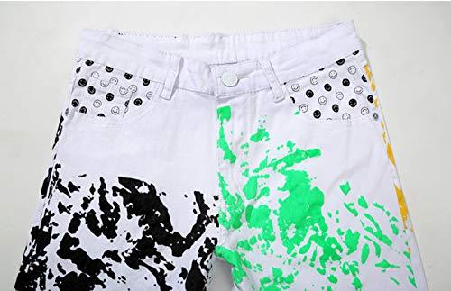 Haute Slim Pants Confortable Mince Automne Homme Impression Coupe Jeans Denim Blansdi Qualité Printemps Pantalons Et Section Blanc3 Doux Flexible Motif Trousers Mode wqF7AYTO