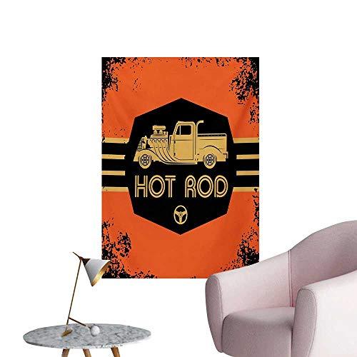 Anzhutwelve Retro Art Stickers Hot Rod Grunge Poster Design with Custom Truck Americana Vintage EngineOrange Black Sand Brown W24 xL36 Cool Poster