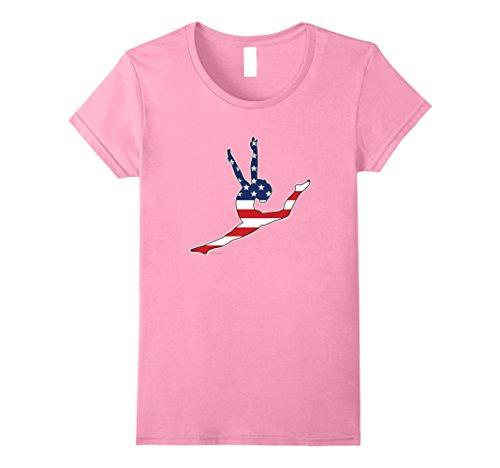 Womens Gymnastics American Flag Decal T-shirt for Gymnast...