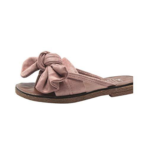 Women Flip Flops Fashion Solid Color Bow tie Flat Heel Sandals Outdoor Slipper Beach Shoes,B,39