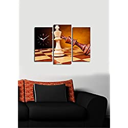LaModaHome Home Decorative Canvas Wall Art with REAL RUNNING CLOCK 3 Pcs (Total 26 x 18) Wooden Thick Frame Painting Chess Table Game Intelligence Check Mate Horse CHECK PRODUCTS!