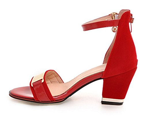 Women's Sandals Sexy Ankle Red Mid Aisun Heels Strap Zipper Chunky vd8qqw