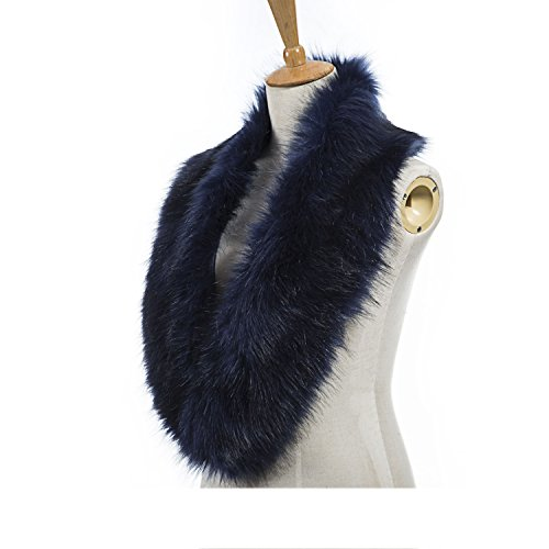 Fur Collar (Faux Fur Collar for Winter Coat and Jacket, Fur Winter Warm Scarf for Women by REDESS[Various of Styles and Colors] (Dark Blue))