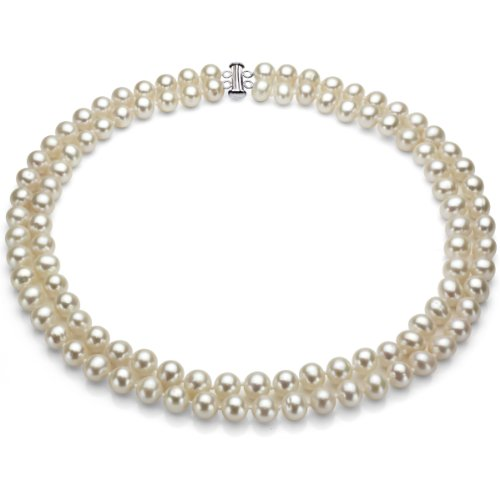 """17"""" Sterling Silver Pearl Necklace With 2 Rows White Freshwater Cultured High Luster Pearl Jewelry"""