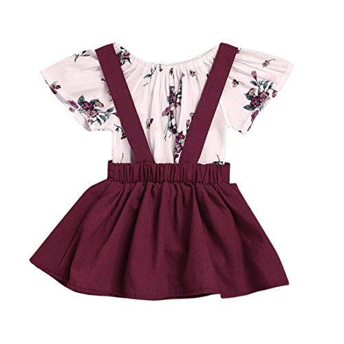 FEITONG 2Pcs Infant Baby Girls Floral Print Rompers Jumpsuit + Strap Skirt Outfits Set