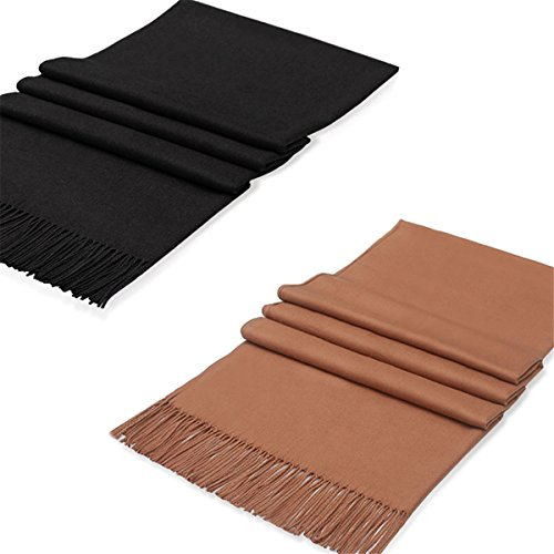(Women Pashmina Scarf Wrap Shawl - 2 Packs Black Brown solid Lightweight Thin Cashmere Soft Plain Scarf, Ideal Gift, Winter Scarf, Spring Scarf, Evening Scarf, Wedding Scarf)