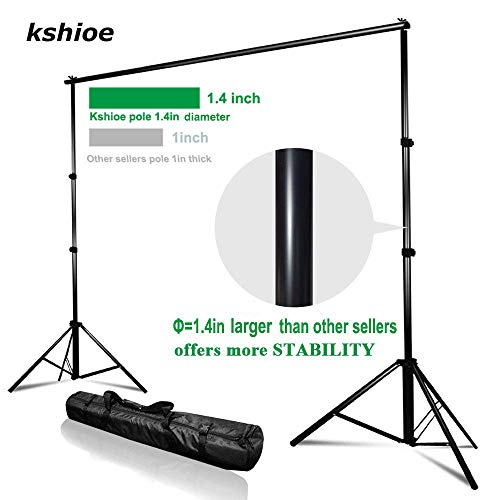 Kshioe Upgraded Background Stand,8.5ft-10ft Adjustable Heavy Duty Backdrop Support System Kit with Carry Bag for Photography Photo Video Studio, Photography Studio by Kshioe (Image #2)