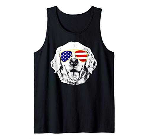 Golden Retriever American Flag Sunglasses 4th Of July Dog Tank Top