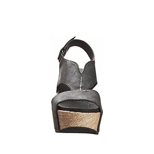 Antilopen Dames 855 Metallic Leer V Geslepen Textuur Sandalen Zwart