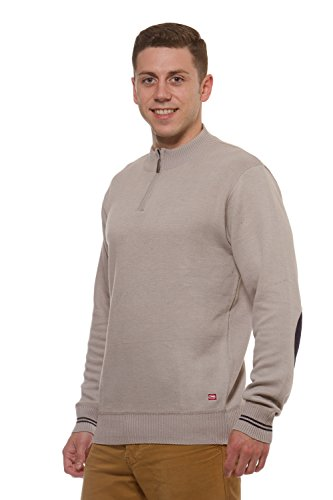 Mens ECKO UNLTD Marled Quarter Zip long sleeve Elbow Patch sweater Taupe M (Detailed Mock Neck Sweater)