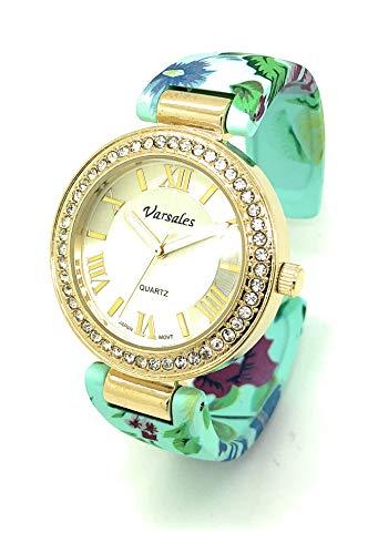 (Ladies Elegant Floral Flower Metal Bangle Cuff Fashion Watch Rhinestones Versales (Style 2))