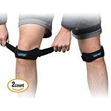 (Set of 2) AGPtEK Adjustable Knee Braces Support Patella Knee Strap with Silicone Pad