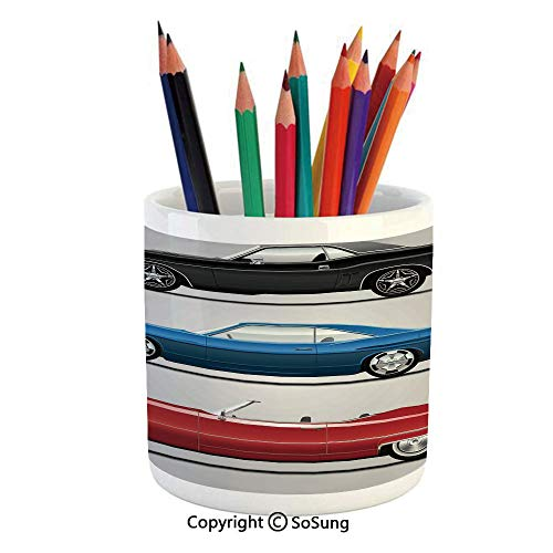 Printed Ceramic Pencil Pen Holder Case Box,Set of Old Fashion Cars in Different Colors Seventies Icon Effects Usa Theme Art Beautiful Stationery for Daily Use in Office,Classroom,Home,Gift Idea,Red Bl -