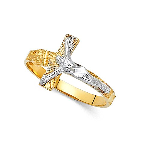 - GemApex Jesus Cross Crucifix Ring Solid 14k Yellow White Gold Religious Band Diamond Cut Two Tone 13MM Size 6.5
