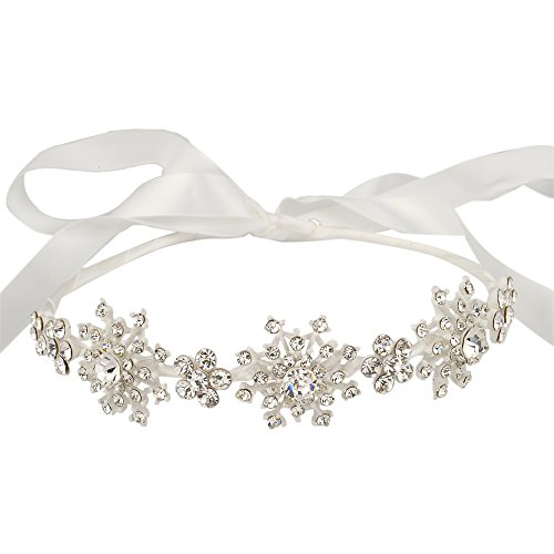 EVER FAITH Silver-Tone Austrian Crystal Wedding Snowflake Flower Hair Band (Snowflake Wedding Accessories)