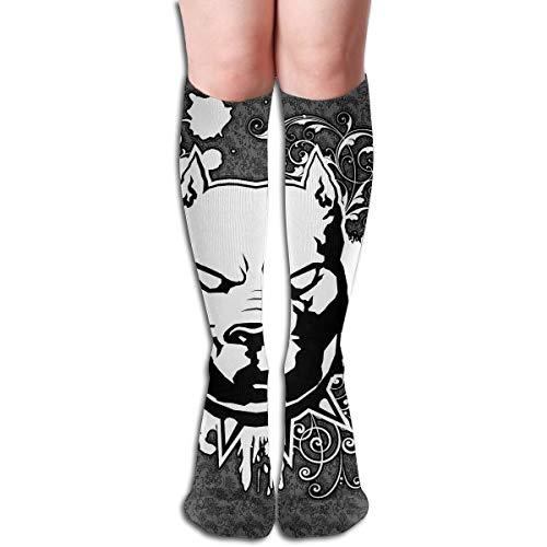 Tube Knee High Socks 50CM Pitbull Logo Men's Over-The-Calf Tube Sports Socks Extra Long Compression Stocking