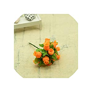 Old street 12pcs Silk Roses Bouquet DIY Christmas Garlands vases for Home Wedding Decoration Accessories Artificial Plastic Flowers,Orange 73