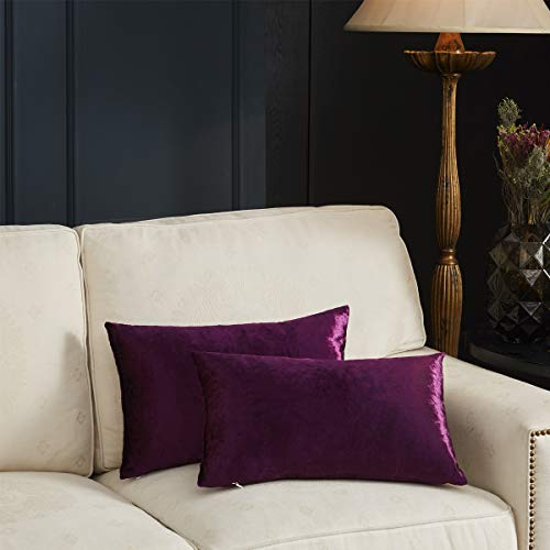 GIGIZAZA Gold Velvet Decorative Throw Pillow Covers for Sofa Bed 2 Pack Soft Cushion Cover (Purple, 12 x 20- Set of 2) (Gold And Purple Throw Pillows)