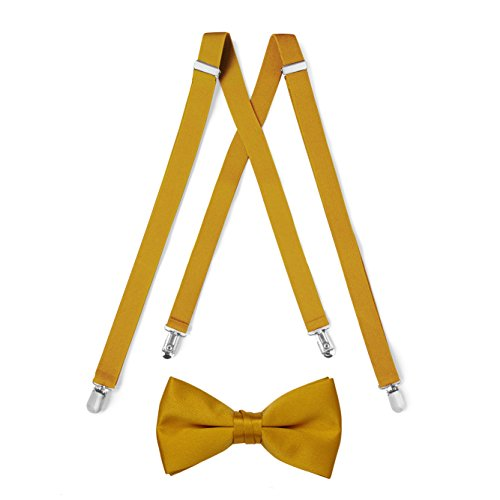 Suspender & Bow Tie Set (Adult, Gold) -