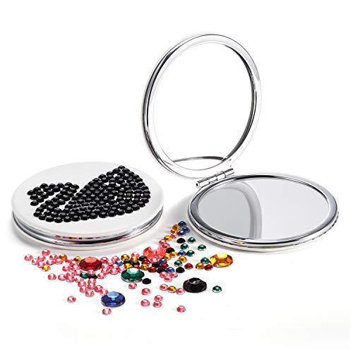 - OMIRO Compact Mirror DIY Kit, Blank PU with Acrylic Diamonds, Crafts for men girls and kids (Black)