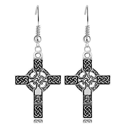 rk Irish Cross Renaissance Christian Catholic Vintage Jewelry Women Drop Earring (Celtic Cross Drop Earrings)