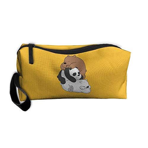 kjaoi Cosmetic Bags Brush Pouch Makeup Bag Sleeping Bare Bears Zipper Wallet Hangbag Carry Case Pen Organizer Wristlet Holder -