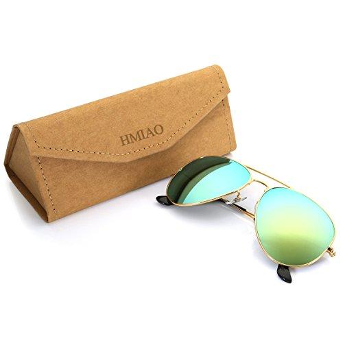 Aviator Sunglasses Polarized for Men Women,Flash Mirror Lens UV400 Sunglasses Eyewear with Sun Glasses Case (Gold,Blue Mixed/Gold Frame, - Case Aviator