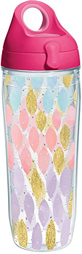 Tervis 1288142 Metallic Touch Tumbler with Wrap and Passion Pink Lid 24oz Water Bottle, Clear ()