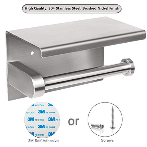 Toilet Paper Holder with Shelf, Adhesive Bathroom Toilet Tissue Roll Dispenser with Mobile Phone Storage Shelf, 3M Self-Adhesive No Drilling or Wall-Mounted with Screws,Brushed Nickel
