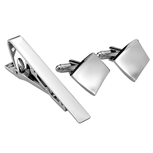 Jovivi Customizable Silver Tie Clip and Cufflink Set For Mens Skinny Tie Bar Clips Cufflinks Shirt Wedding Business With Gift ()