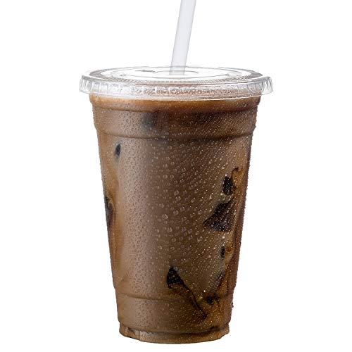 Cold Smoothie Go Cups and Lids | Iced Coffee Cups | Plastic Cups with Lids | 20 oz Cups, 50 Pack | Clear Disposable Pet Cups | Ideal for Parfait (Disposable Plastic Coffee)