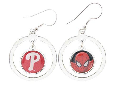 Philadelphia Phillies Spiderman Two Sided Silver Hook Hoop Earrings Jewelry MLB
