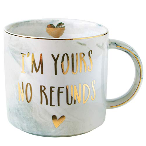Viligh Engaged Mug Funny Groom and Fiance Gifts for Him - I Am Yours No Refunds Marble Coffee Cup 11.5 Oz (Christmas Gifts For Your Fiance)