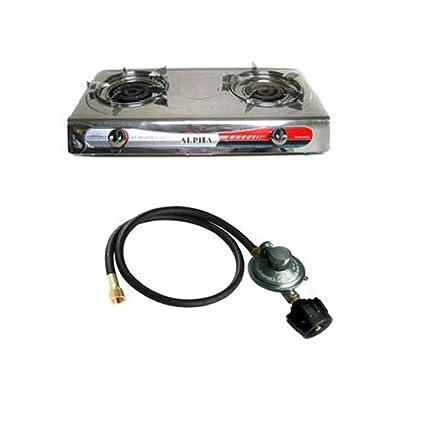 Portable Propane Gas Stove 2 Double Burner Range BBQ And New Regulator Hose
